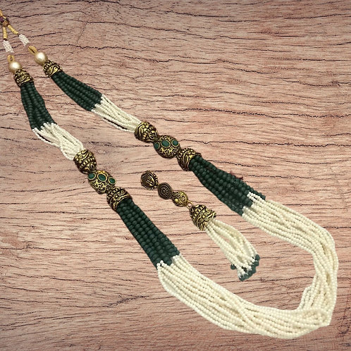Contemporary Beads Necklace Set in Green