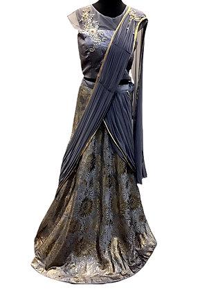 Amazing Lehanga Saree in Stone Blue