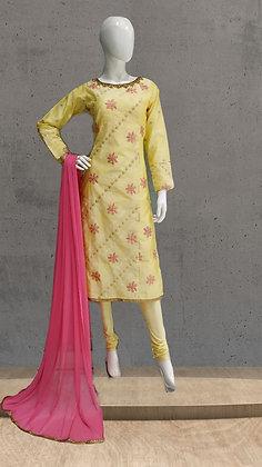 Yellow Straight Churridar Suit