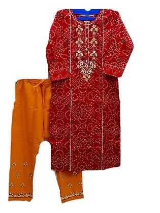 Beautiful Maroon yellow Bandhani Silk Plazzo Suit Set