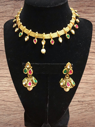 Green Pink Kundan Necklace Set