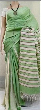 Green White Cotton Saree
