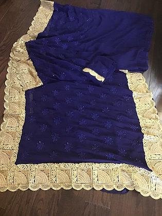 Pretty Blue Embroidered Saree
