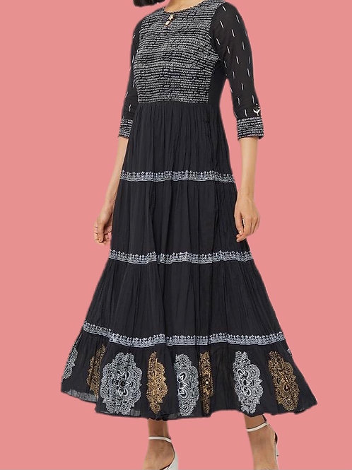 Casual A Line Kurti in Black