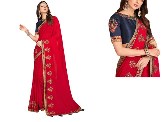 Beautiful Embroidered  Red Blue Saree
