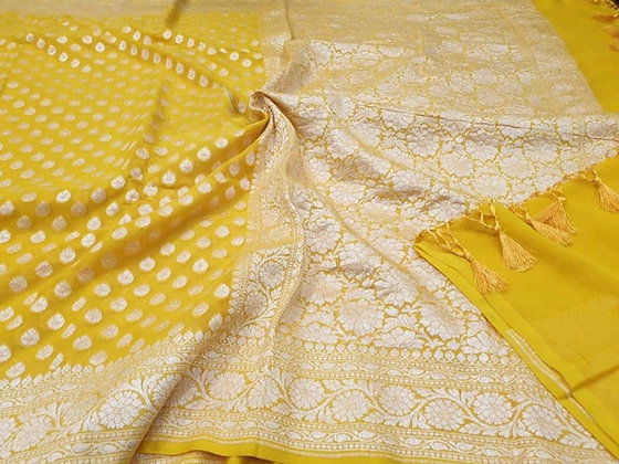 Gorgeous Yellow Banarasi Handloom khadi Georgette saree