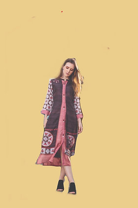 Brown Pink Jacket Kurti