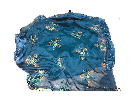 Chiffon Blue Saree