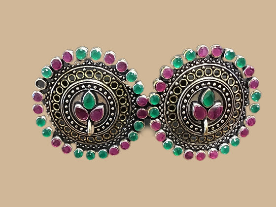 Pink Green Stud Earring