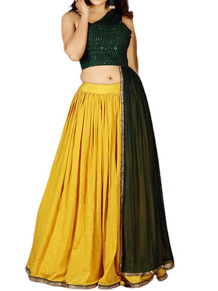 Gorgeous Yellow Green Embroidered Silk Lehanga Choli