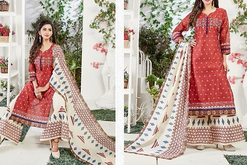 Cotton Silk Red White Plazzo Suit