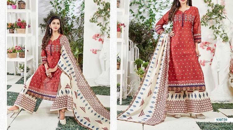 Cotton Silk Red White Plazzo Suit