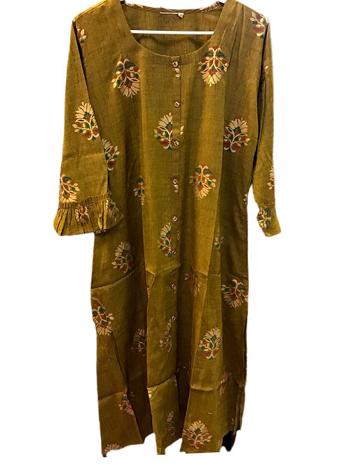 Mehandi Green printed Cotton Kurti