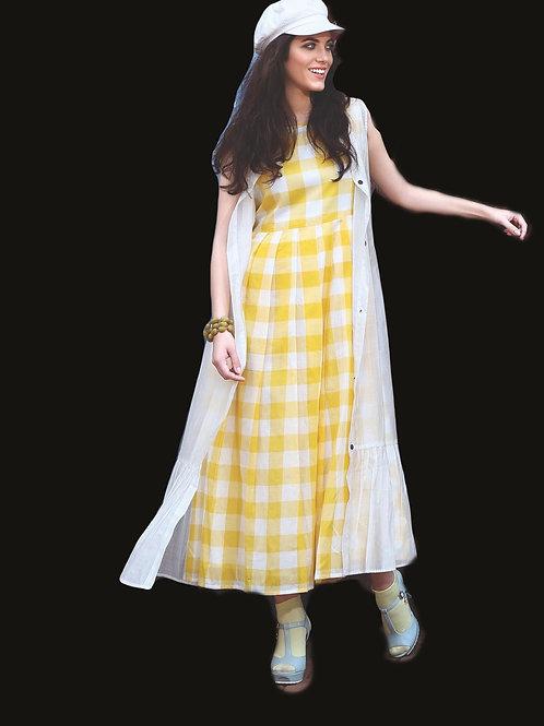 Yellow white Kurti
