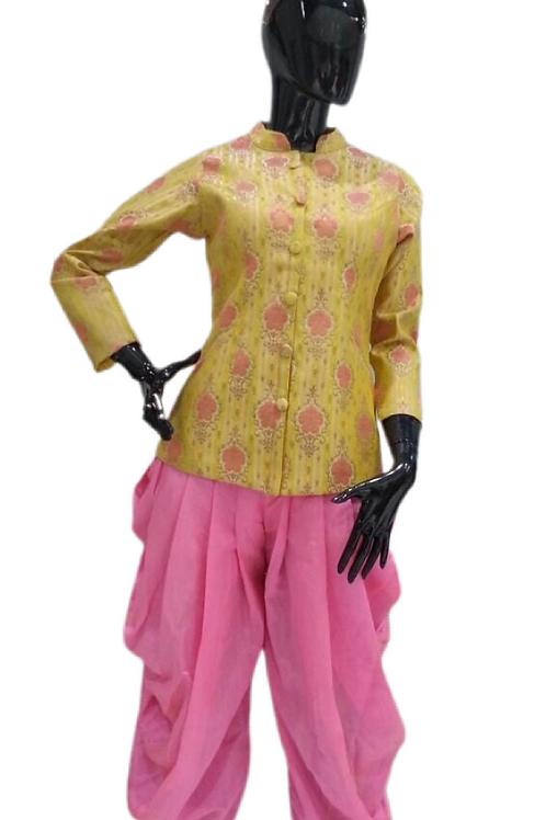 Yellow Pink Dhoti Set