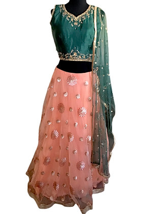 Enchanting Green peach Lehanga Choli
