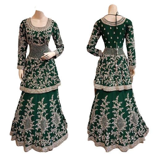 Designer Heavy Lehanga Top In Green