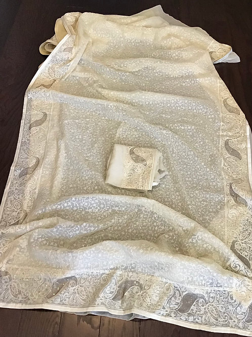 Gorgeous Cream Embroidery Chiffon Saree