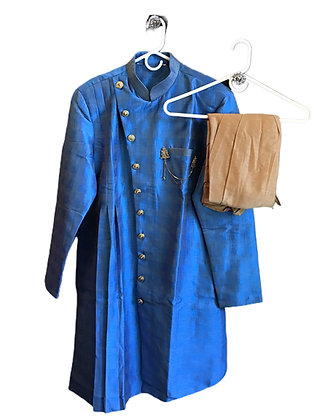Designer Royal Blue Asymmetrical Kurta Pajama