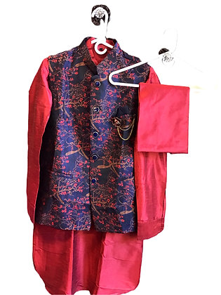 Designer Royal Red Men Kurta Jacket Set