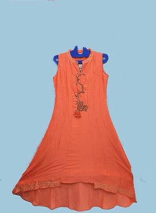 Orange A Line Kurti