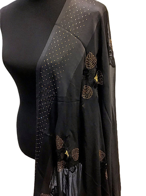 Chiffon black  Saree