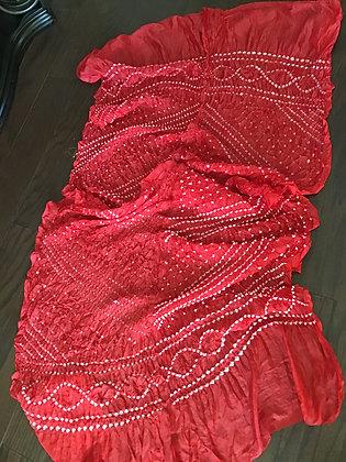Red Bandhani Silk Dupatta