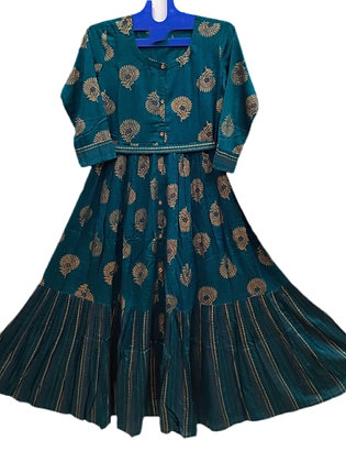 Pretty Blue Printed A Line Kurti