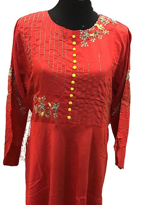 Red Floor Length 5xl kurta with dupatta
