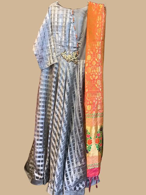 Plus Size Grey Abaya Style Suit