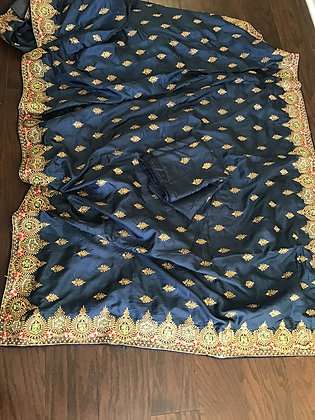 Beautiful Blue Silk Embroidery Saree