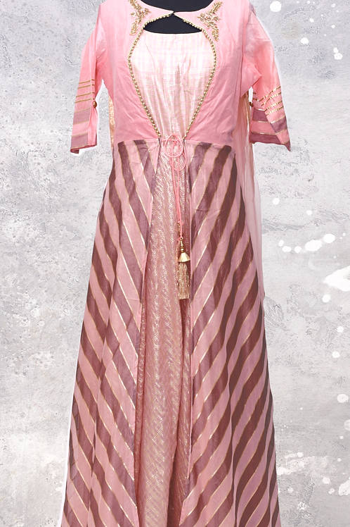 Pink Abaya Style Suit