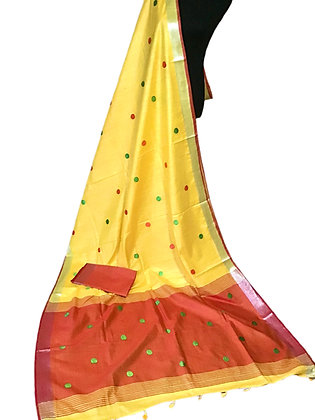 Elegant Yellow Linen Embroidered Saree