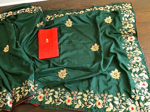Beautiful Green Silk Embroidery Saree