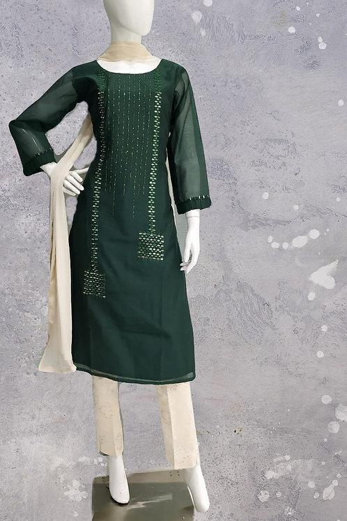 Green Cream pant Suit Set