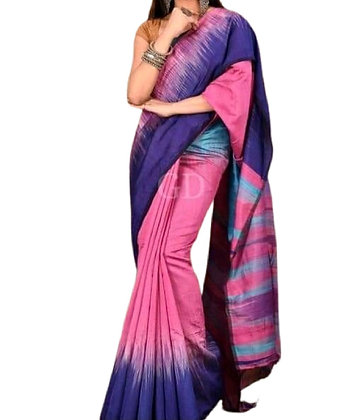 Ikkat Handloom Cotton Silk Saree