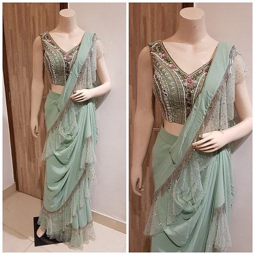 Lehanga Saree in Green