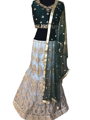 Ravishing Lehanga Choli In Green and Light Blue