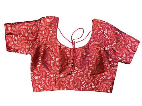 Red Woven Silk Blouse