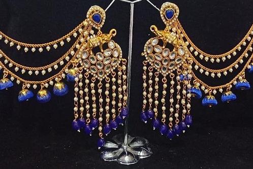Blue Kundan Chandelier Earring