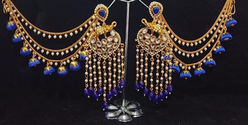 Blue Kundan Chandelier Earring