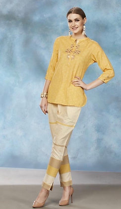Yellow Cotton Pant Set