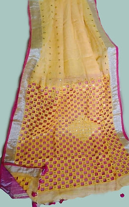Yellow Linen Cutwork And Mirror Work