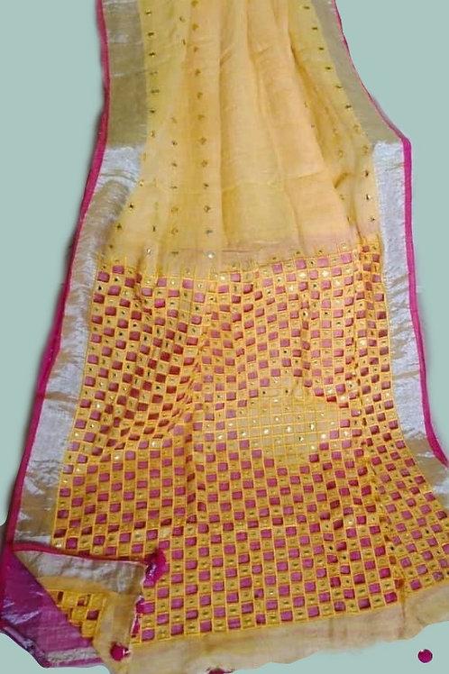 Yellow Linen Cutwork And Mirror Work