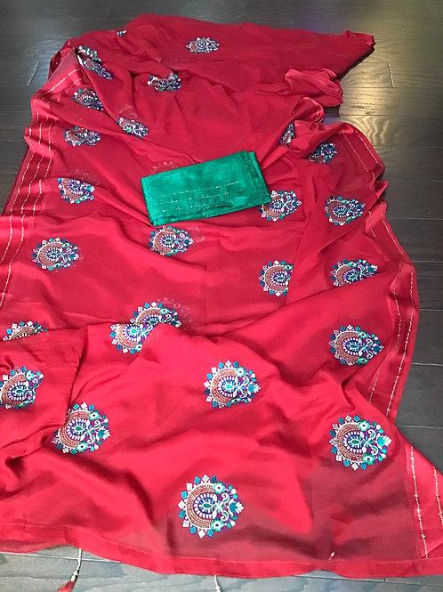 Gorgeous Royal Red Chiffon Saree