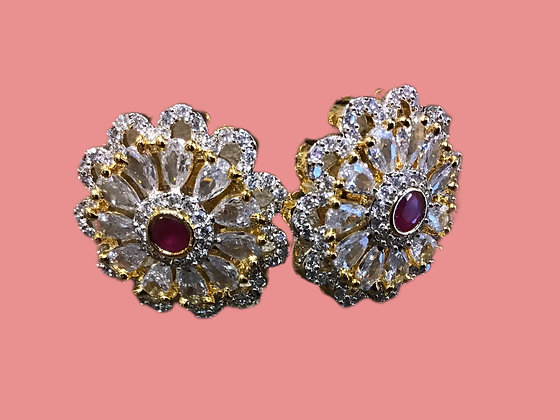 AD stones Pink Stud Earring