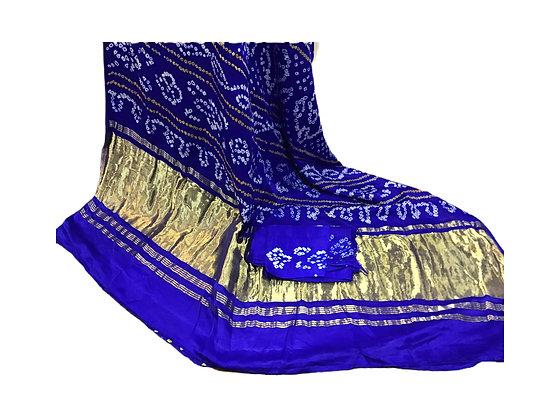 Royal Blue Bandhani silk Saree