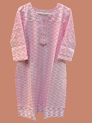 Pink Lucknowi Cotton Kurti
