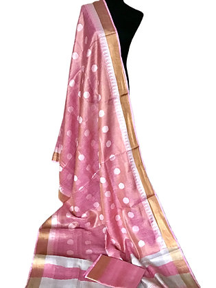 Amazing Pink Tissue Linen Weaving bota Saree