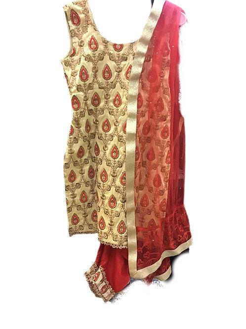 Red Golden silk  Dhoti Suit Set